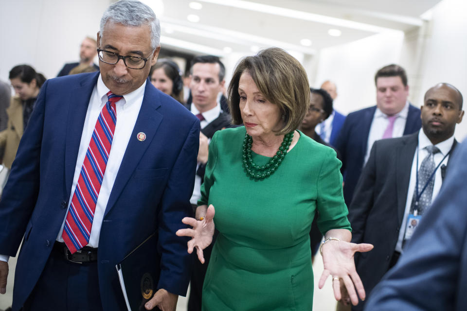 UNITED STATES - OCTOBER 15: Rep. Bobby Scott, D-Va., chairman of the House Education and Labor Committee, and Speaker of the House Nancy Pelosi, D-Calif., are seen after a news conference in the Capitol Visitor Center to introduce the College Affordability Act, an overhaul of higher education system, on Tuesday, Oct. 15, 2019. (Photo By Tom Williams/CQ-Roll Call, Inc via Getty Images)