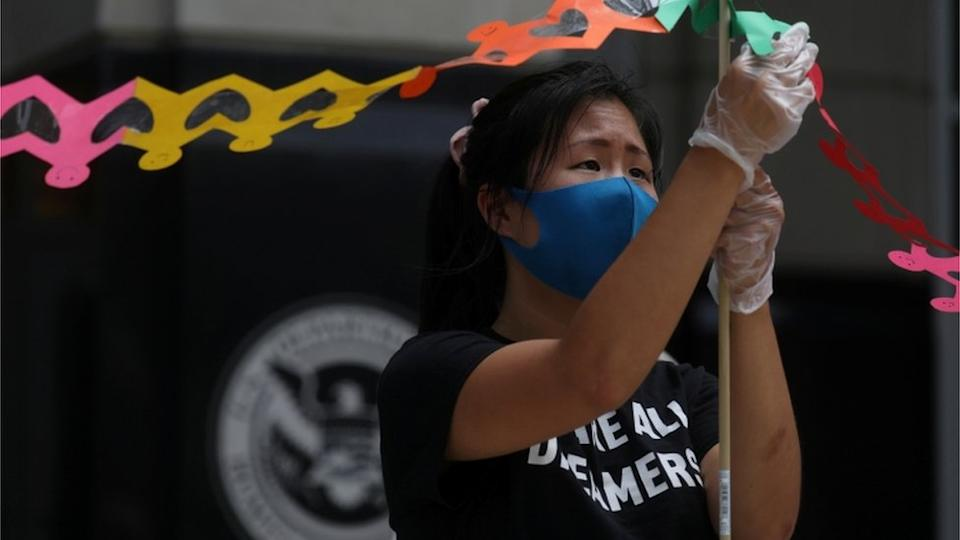 a protest against ICE in July 2020