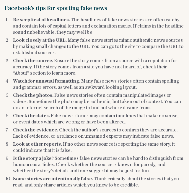 Facebook's tips for spotting fake news