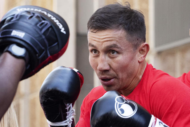 FILE - In this Tuesday, June 4, 2019, file photo, Gennady Golovkin, of Kazakhstan, boxes during a workout in New York. Golovkin faces Steve Rolls, of Canada, in a middleweight bout on Saturday in New York. (AP Photo/Mark Lennihan, File)
