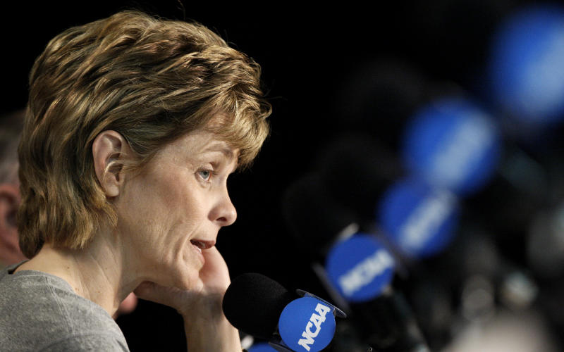 Baylor head coach Kim Mulkey answers a question during a news conference before the NCAA women's college basketball tournament regional final, Monday, March 28, 2011, in Dallas.  Texas A&M  will face Baylor on Tuesday. (AP Photo/LM Otero)