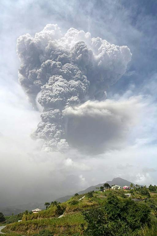 "The 1,235-meter La Soufriere -- French for ""sulphur mine"" -- sent plumes of hot ash and smoke 6,000 meters (20,000 feet) into the air"