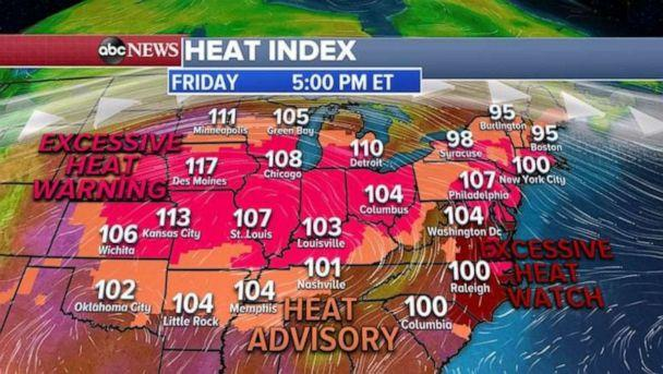 PHOTO: Excessive heat warnings and heat advisories have been issued for Friday. (ABC News)