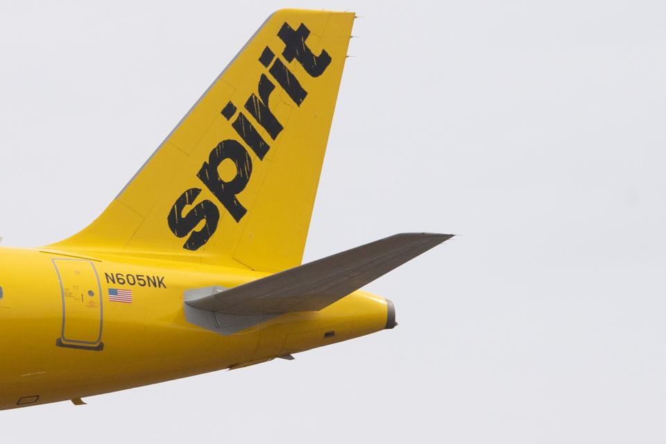 The tail section of an Airbus 320 operated by Spirit Airlines is seen as it approaches for landing at Baltimore Washington International Airport near Baltimore, Maryland on March 11, 2019. (Photo by Jim WATSON / AFP)        (Photo credit should read JIM WATSON/AFP/Getty Images)