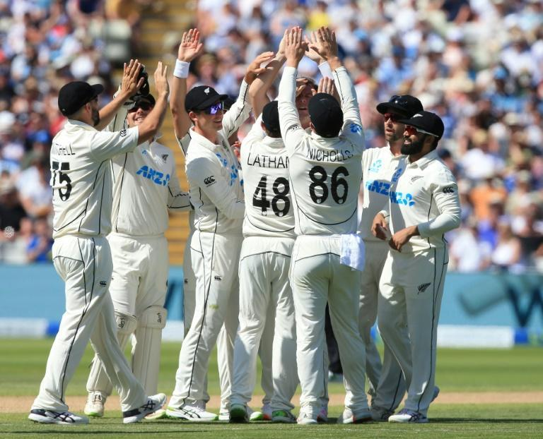 Early blow - New Zealand's Matt Henry celebrates with team-mates after dismissing England's Dom Sibley on the third day of the second Test at Edgbaston on Saturday