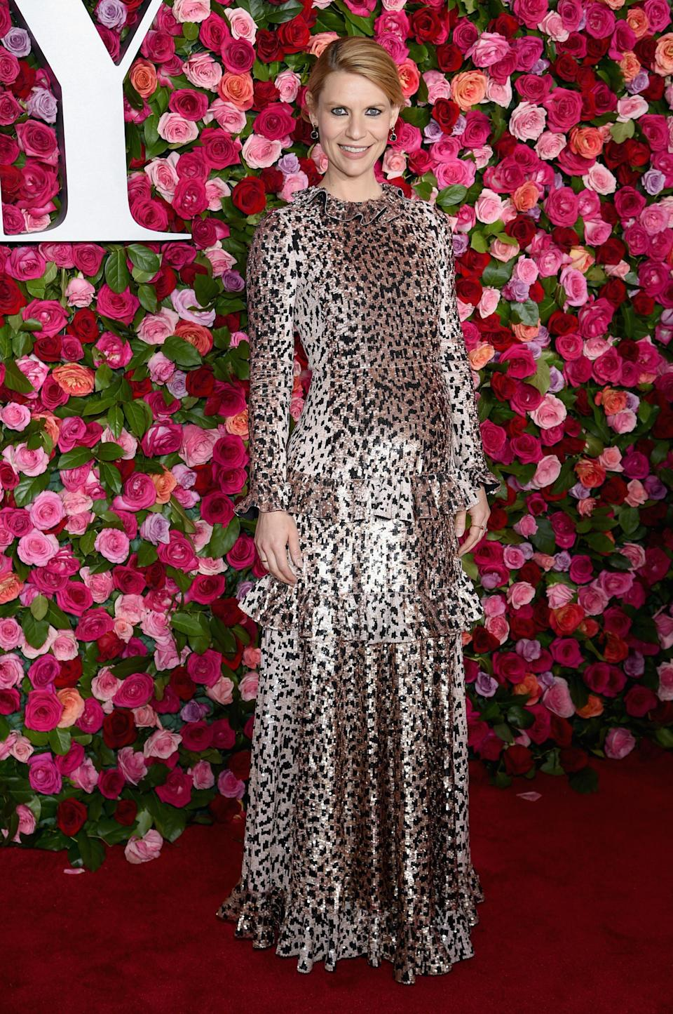 <p>Claire Danes gave a twist on leopard pritn when she donned this incredible Valentino Pre-Fall 2018 gown to the awards. Love. <em>[Photo: Getty]</em> </p>
