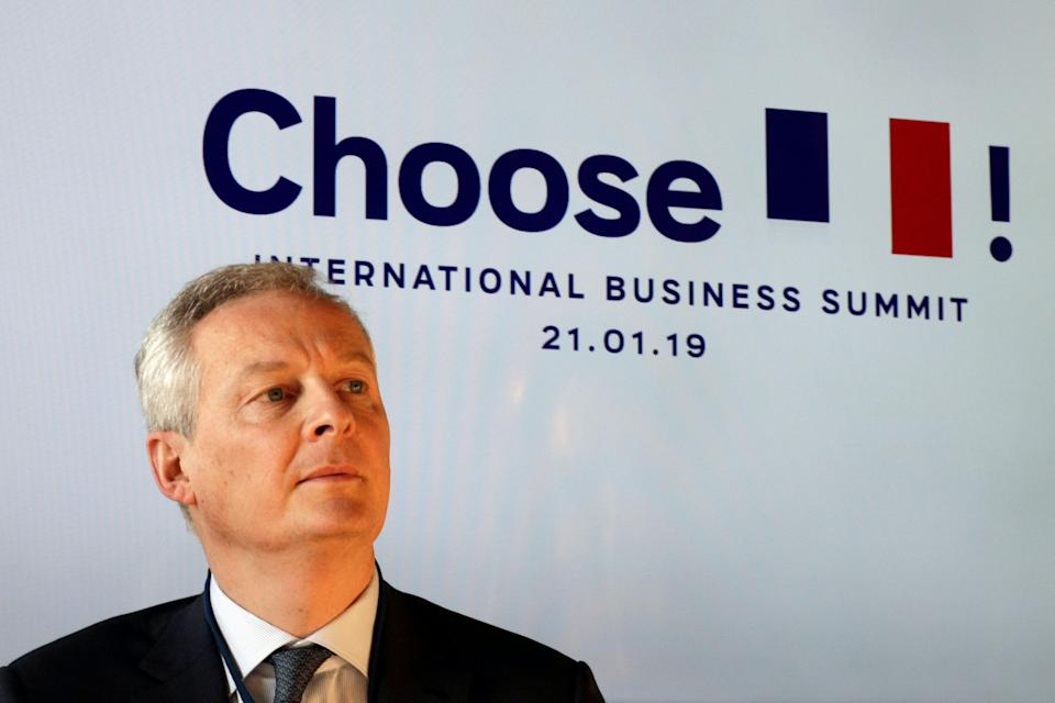 "French Economy minister Bruno Le Maire takes part in the second edition of the ""Choose France"" summit, at the Versailles palace, outside Paris, France, Monday, Jan. 21, 2019. (Geoffroy Van Der Hasselt/Pool Photo via AP)"