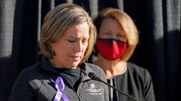 PHOTO: Jill McCluskey, the mother of slain University of Utah student-athlete Lauren McCluskey, speaks during a press conference announcing they have reached a settlement in their lawsuit against the university Thursday, Oct. 22, 2020, in Salt Lake City. (Rick Bowmer/AP)