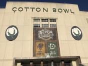 A shot from outside the iconic Cotton Bowl Stadium on Tuesday, Dec. 31, 2019 a day before the NHL hockey Winter Classic will be played there between the Dallas Stars and Nashville Predators on New Year's Day. It will be the southernmost outdoor game ever for the NHL, and the first outdoor game for both teams. It is the stadium known primarily for hosting the Red River college football rivalry game between Texas and Oklahoma each fall during the State Fair of Texas. (AP Photo/Stephen Hawkins)