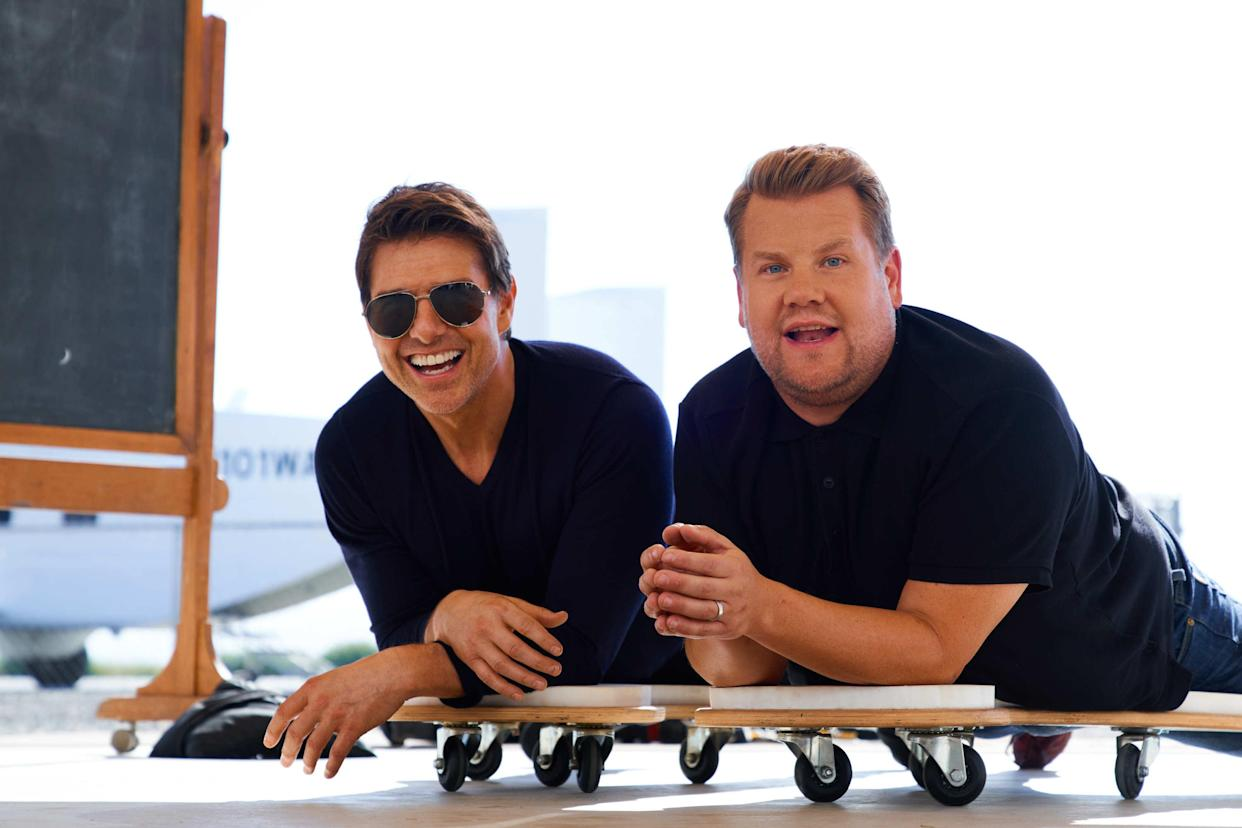 LOS ANGELES - JULY 26: Tom Cruise skydives with James Corden at Skydive Perris on The Late Late Show with James Corden. (Photo by Terence Patrick/CBS via Getty Images)