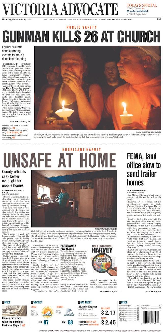 <p>VICTORIA ADVOCATE<br> Published in Victoria, Texas USA. (newseum.org) </p>