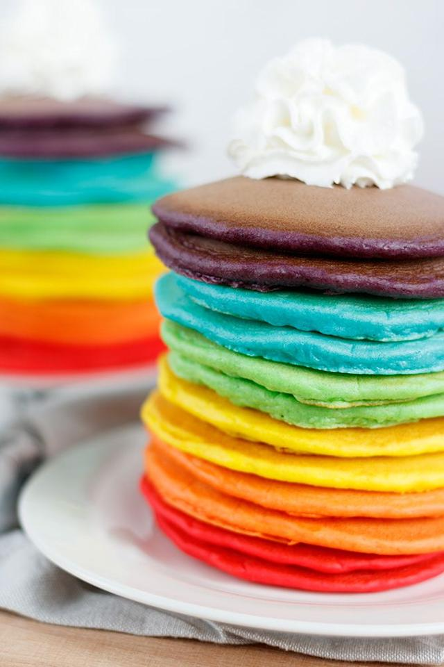 """<p>Seriously impress this Shrove Tuesday with a tower of (almost) too beautiful to eat pancakes. Thanks to Jennifer Meyering's blog, we've bagged the perfect easy-to-follow recipe for you and your family this Pancake Day. Check out the recipe over on her <a rel=""""nofollow"""" href=""""https://www.jennifermeyering.com/rainbow-pancakes/"""">website</a>.<br /><br /><b>Ingredients:<br /></b><br />2 cups of pancake mix<br />1 cup of milk<br />2 large eggs<br />1 tsp vanilla extract <br />Food colouring </p>"""