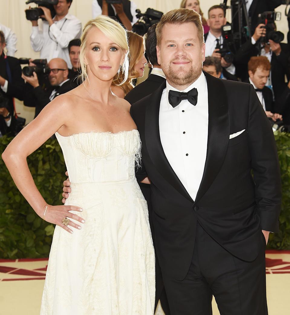 """<h1 class=""""title"""">Julia Corden in Brock Collection and James Corden in Tom Ford</h1><cite class=""""credit"""">Photo: Getty Images</cite>"""