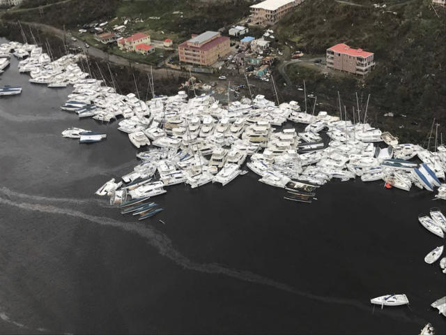 <p>Boats are clustered together after Hurricane Irma Friday, Sept. 8, 2017. The death toll from Hurricane Irma has risen to 22 as the storm continues its destructive path through the Caribbean. The dead include 11 on St. Martin and St. Barts, four in the U.S. Virgin Islands and four in the British Virgin Islands. There was also one each in Barbuda, Anguilla, and Barbados. The toll is expected to rise as rescuers reach some of the hardest-hit areas. (Photo: Caribbean Buzz via AP) </p>