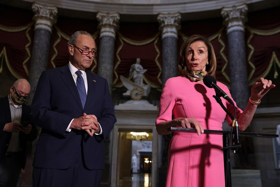 U.S. Speaker of the House Rep. Nancy Pelosi (D-CA) and Senate Minority Leader Sen. Chuck Schumer (D-NY) speak to members of the press after a meeting with Treasury Secretary Steven Mnuchin and White House Chief of Staff Mark Meadows at the U.S. Capitol August 7, 2020 in Washington, DC.
