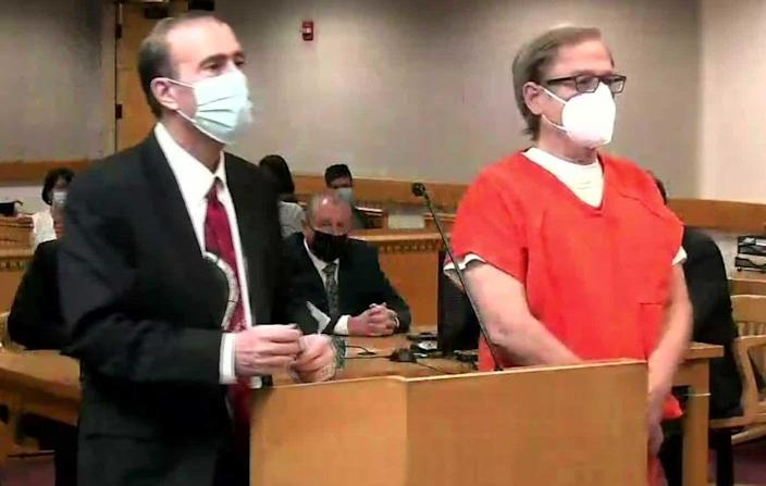 Steve Pankey, right, in court with his defense attorney Anthony Viorst, is charged with the murder of Jonelle Matthews and will stand trial in July. He pleaded not guilty. / Credit: KCNC