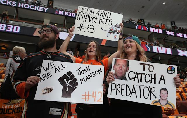 <p>Ducks fans show their support before the game between the Anaheim Ducks and the Nashville Predators in Game Five of the Western Conference Final during the 2017 NHL Stanley Cup Playoffs at Honda Center on May 20, 2017 in Anaheim, California. (Photo by Debora Robinson/NHLI via Getty Images) </p>