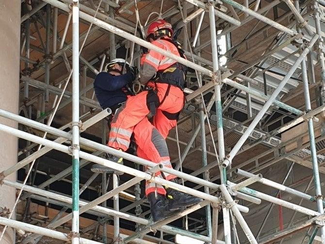 <p>While major works were carried out on the M5 Oldbury viaduct, West Midlands Fire Service used the scaffolding beneath to practice rescue drills</p>Facebook/Highways England-West Midlands
