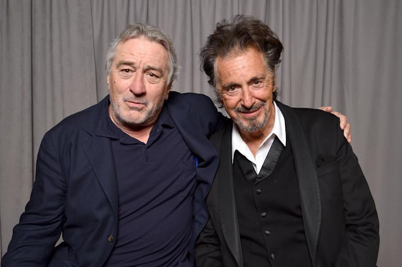 "NEW YORK, NY - APRIL 29: Robert DeNiro and Al Pacino pose for a portrait at ""The Godfather"" 45th Anniversary Screening during 2017 Tribeca Film Festival closing night at Radio City Music Hall on April 29, 2017 in New York City. (Photo by Kevin Mazur/Getty Images for Tribeca Film Festival)"