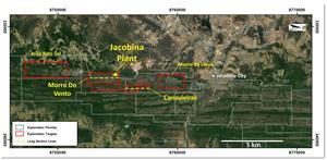 Jacobina Location Map Showing Main Target Areas and Mines. Star Symbol Indicates Location of Mine Plant Facility.