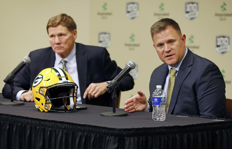 Green Bay Packers' team president Mark Murphy, left, looks on as general manager Brian Gutekunst speaks during a press conference at Lambeau field in Green Bay, Wisc., Monday, Dec. 3, 2018. The Packers fired head coach Mike McCarthy after a loss to the Arizona Cardinals on Sunday. (AP Photo/Mike Roemer)