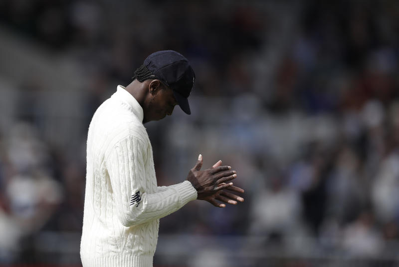 MANCHESTER, ENGLAND - SEPTEMBER 05: Jofra Archer of England looks on during day two of the 4th Specsavers Test between England and Australia at Old Trafford on September 05, 2019 in Manchester, England.