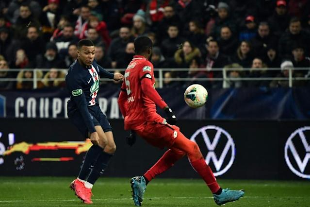Senou Coulibaly could do nothing as Mbappe's cross flicked off his thigh and into his own net (AFP Photo/JEFF PACHOUD)