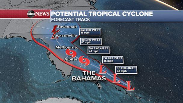 PHOTO: A 'potential tropical cyclone' is threatening to bring tropical storm conditions to the northwestern Bahamas. (ABC News)