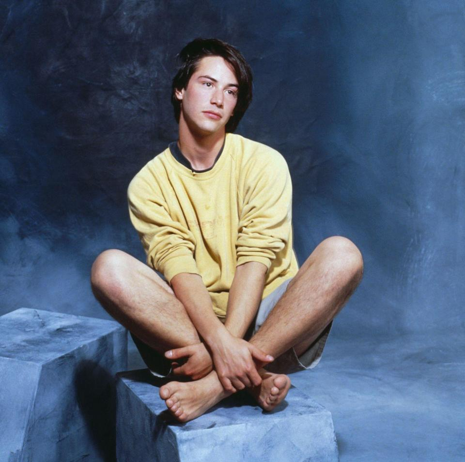 <p>There's so much to say about this portrait of Keanu Reeves, but we'll stick to his outfit. Although they're hard to see, Reeves wore boxy jean shorts and a crewcut sweatshirt for this rather perplexing photoshoot. </p>
