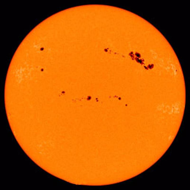 Sunspots – darker, cooler patches on the sun's surface – in 2001.