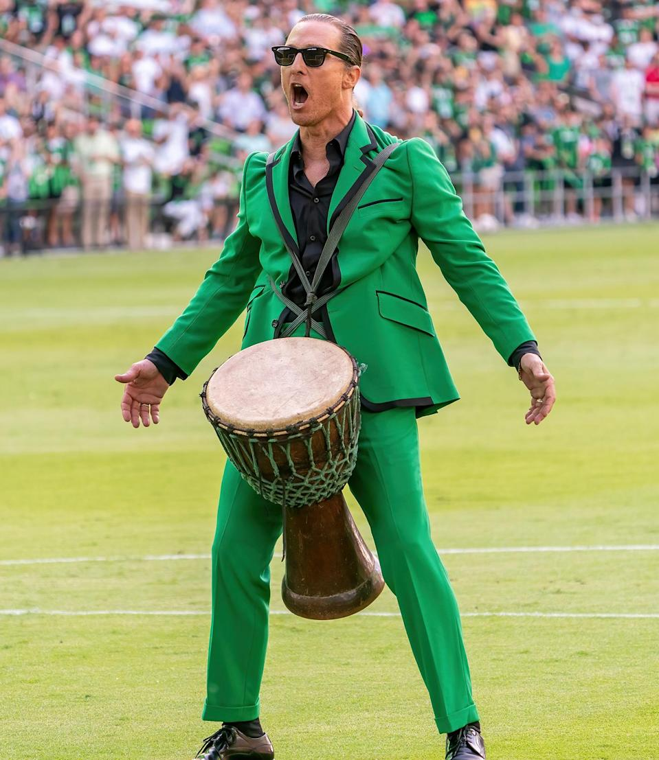 <p>Matthew McConaughey gets the crowd going on June 19 before the start of the inaugural home game between the San Jose Earthquakes and Austin FC at O2 Stadium in Texas.</p>