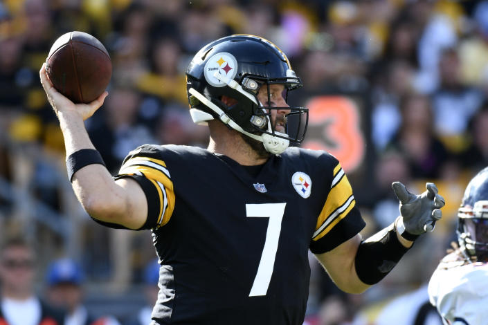 Pittsburgh Steelers quarterback Ben Roethlisberger (7) throws a pass during the second half of an NFL football game against the Denver Broncos in Pittsburgh, Sunday, Oct. 10, 2021. The Steelers won 27-19. (AP Photo/Don Wright)