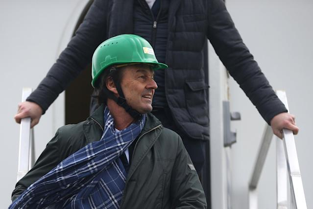 French Minister for Ecological and Inclusive Transition Nicolas Hulot attends a visit at a wind farm in Juille near Le Mans, France January 8, 2018. REUTERS/Stephane Mahe