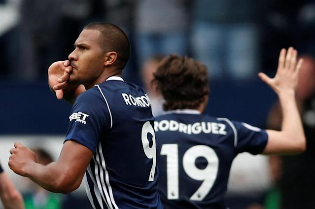 """Soccer Football - Premier League - West Bromwich Albion v Liverpool - The Hawthorns, West Bromwich, Britain - April 21, 2018 West Bromwich Albion's Salomon Rondon celebrates scoring their second goal Action Images via Reuters/Andrew Boyers EDITORIAL USE ONLY. No use with unauthorized audio, video, data, fixture lists, club/league logos or """"live"""" services. Online in-match use limited to 75 images, no video emulation. No use in betting, games or single club/league/player publications. Please contact your account representative for further details."""