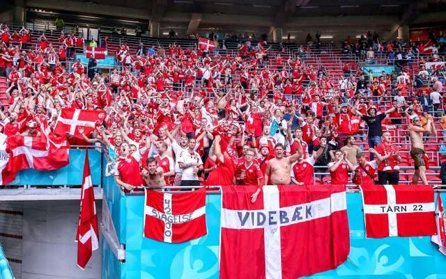 Denmark fans celebrate their victory against Wales