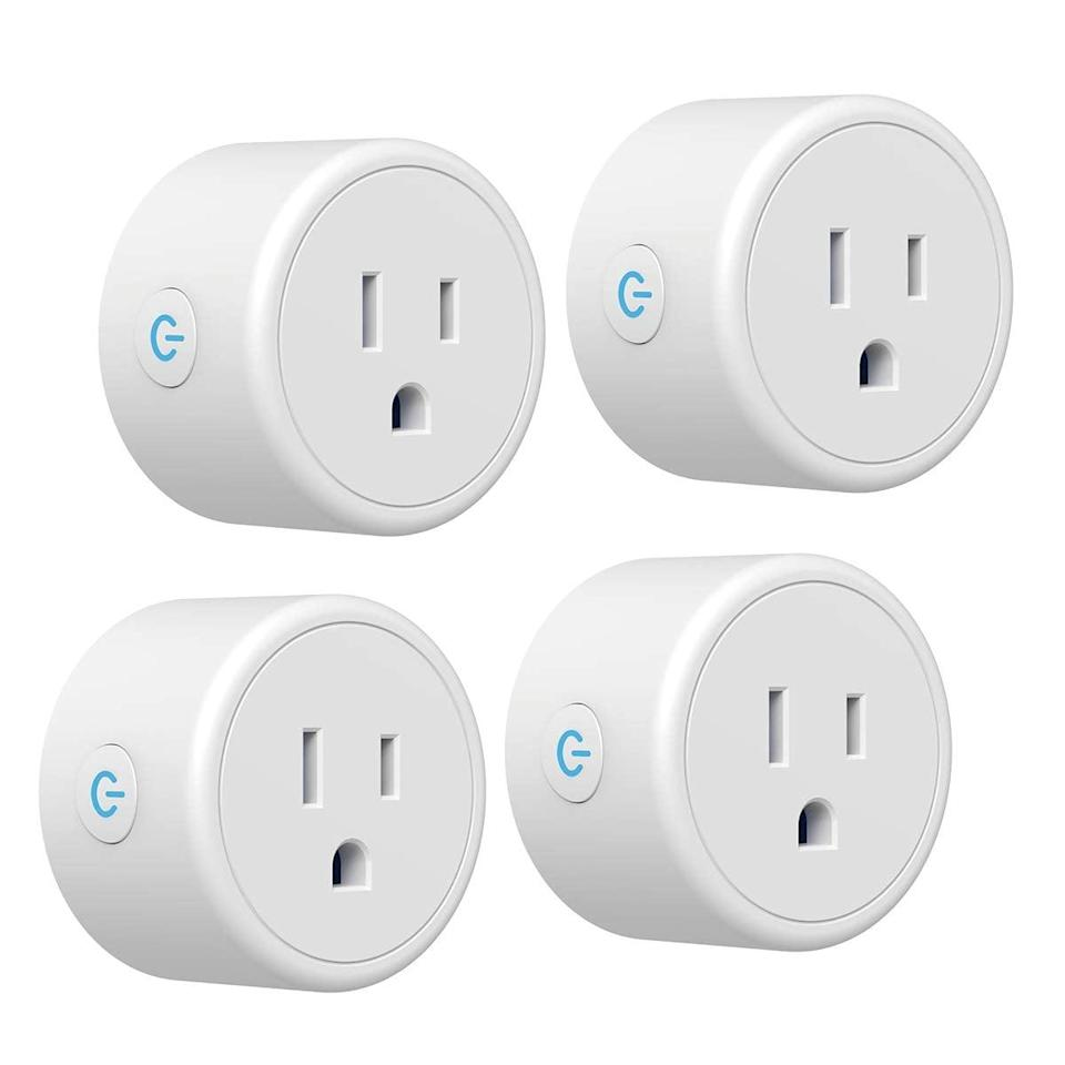 <p>You can schedule these <span>Smart Plug CRESTIN Mini WiFi Outlet Plugs</span> ($29) to turn on and off, even when you're not home.</p>