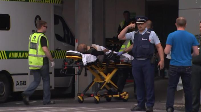 <p>An image grab from TV New Zealand taken on March 15, 2019 shows a victim arriving at a hospital following the mosque shooting in Christchurch. (TV NEW ZEALAND/AFP/Getty Images) </p>