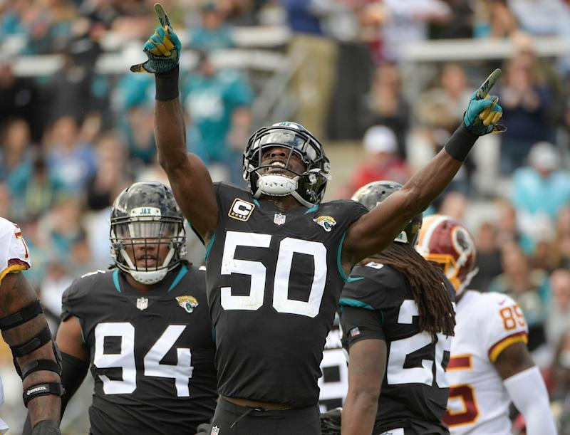 f7da9d4d Jacksonville Jaguars outside linebacker Telvin Smith (50) celebrates a  defensive play against the Washington