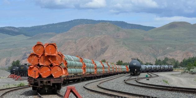 Steel pipe to be used in the oil pipeline construction of Kinder Morgan's Trans Mountain Expansion Project sit on rail cars at a stockpile site in Kamloops, B.C. May 29, 2018.