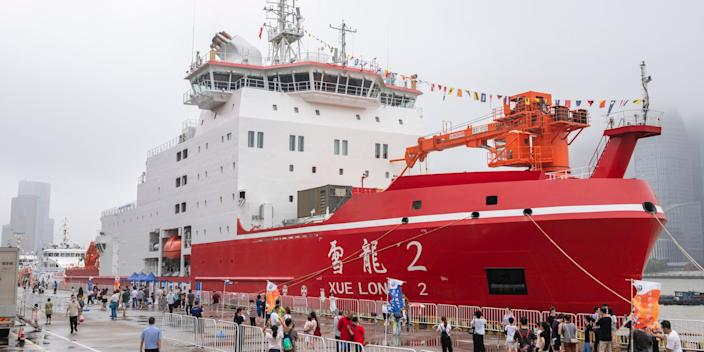 The ice breaker Xuelong 2 at a wharf in Shanghai, China, July 11, 2020.