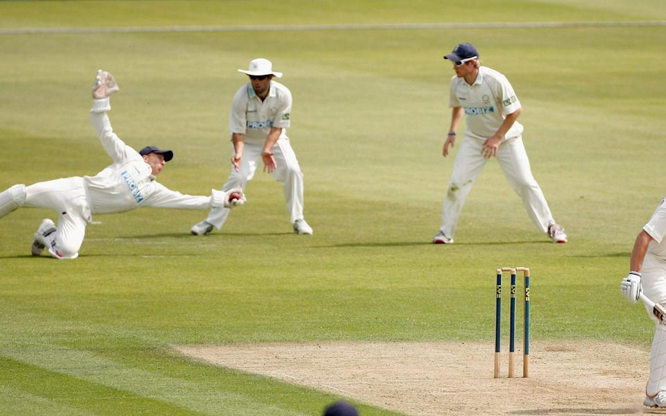 Joe Sayers of Yorkshire is caught behind by Michael Bates of Hampshire during the first day of the LV County Championship Division One match between Hampshire and Yorkshire - GETTY IMAGES