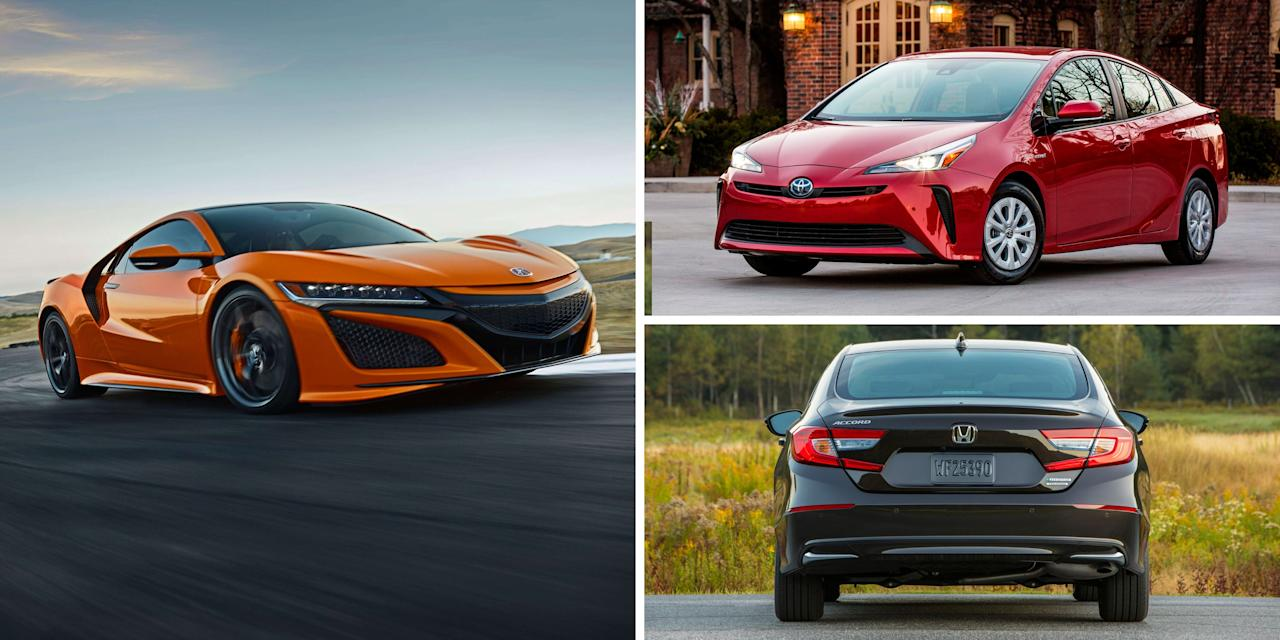 "<p>Long before electric cars became all the rage, hybrids were the most efficient cars you could buy. Today, they generally represent the affordable end of the fuel-economy spectrum, opposite <a href=""https://www.caranddriver.com/features/g15377500/plug-in-hybrid-car-suv-vehicles/"" target=""_blank"">pricier plug-in hybrids</a> <a href=""https://www.caranddriver.com/best-hybrid-electric-cars"" target=""_blank"">and full-electrics</a>, and deliver their efficiency benefits without needing to be plugged in when parked. There are varying degrees of complexity among today's hybrid systems, but all combine electric motors with traditional gas engines to deliver improved mileage. ""Mild"" hybrids mostly use their electric motors to restart the gas engine after it shuts off at a stop to save fuel. More complex hybrids have large enough motors and substantial batteries that allow them to be driven on electric power alone for a limited time. </p><p>Flip through our up-to-date list of every hybrid car currently on sale, ordered from most to least efficient. Interested in a hybrid SUV? Don't worry, <a href=""https://www.caranddriver.com/features/g26134577/hybrid-crossovers-suvs/"" target=""_blank"">we've covered that segment separately</a>.</p>"