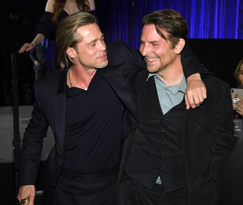 """<p>Not many knew that these two famous Brads were friends until earlier this year. Cooper presented Pitt with Best Supporting Actor at the National Board of Review Annual Awards Gala. """"I got sober because of this guy, and every day's been happier ever since,"""" Pitt <a href=""""https://www.nbcnews.com/pop-culture/pop-culture-news/brad-pitt-says-bradley-cooper-helped-him-get-sober-n1113031"""" rel=""""nofollow noopener"""" target=""""_blank"""" data-ylk=""""slk:told the audience"""" class=""""link rapid-noclick-resp"""">told the audience</a> during his acceptance speech. """"I love you, and I thank you.""""</p>"""