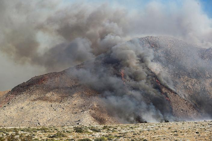 The Snow Fire burns the foothills of Mt. San Jacinto in Palm Springs, September 17, 2020.