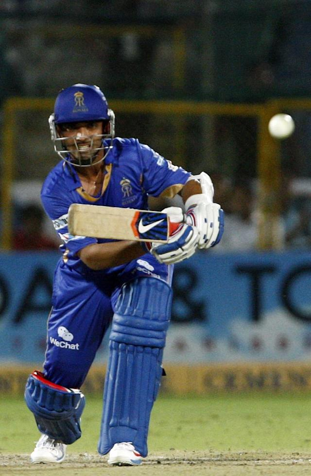 Rajasthan Royals batsman Ajinkya Rahane in action during the CLT20 match between Rajasthan Royals and Otago Volts at Sawai Mansingh Stadium in Jaipur on Oct. 1, 2013. (Photo: IANS)