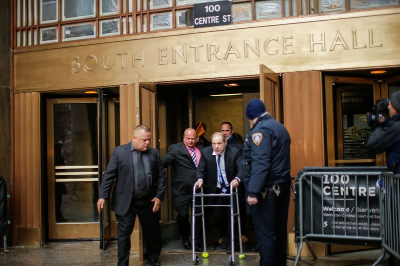 Film producer Weinstein exits the New York Supreme Court in New York