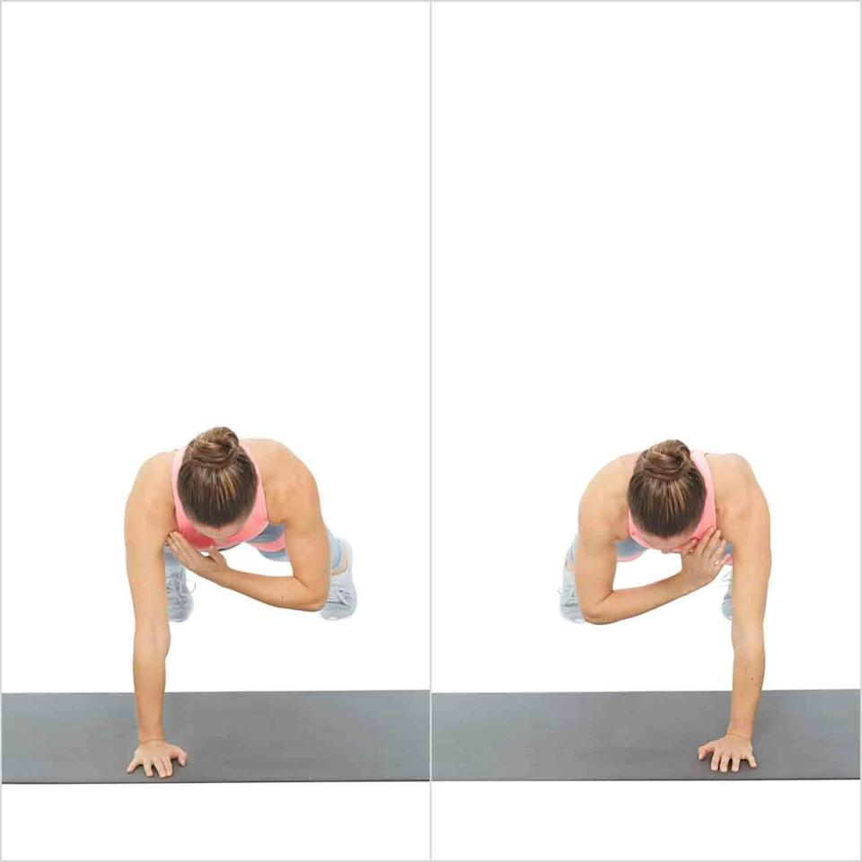 """<ul> <li>Begin in a <a href=""""https://www.popsugar.com/fitness/Plank-Exercises-43638335"""" class=""""link rapid-noclick-resp"""" rel=""""nofollow noopener"""" target=""""_blank"""" data-ylk=""""slk:plank variation"""">plank variation</a> with your feet slightly wider than your hips for added stability.</li> <li>Keeping your torso stable, bring your right hand to your left shoulder, then return your right hand back to the mat.</li> <li>Bring your left hand to your right shoulder, and return it to the mat. This counts as one rep.</li> </ul>"""
