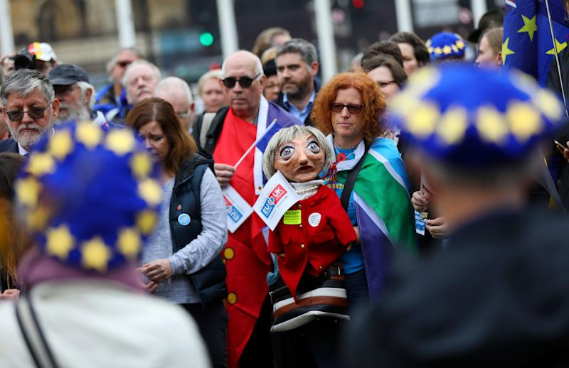 Demonstrators take part in a protest by groups representing EU citizens living in the UK, in Westminster, London, Britain, November 5, 2018. REUTERS/Simon Dawson