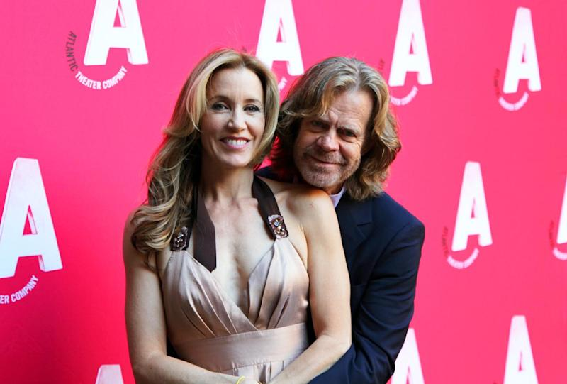 "Actors Felicity Huffman, left, and William H. Macy pose at the celebration of the reopening of the Atlantic Theater Company, Monday, Oct. 1, 2012, after an $8.3 renovation project in New York. The Atlantic, founded in 1985 by David Mamet, Macy and Huffman, has produced more than 130 plays, including the Tony Award-winning productions of ""Spring Awakening"" and ""The Beauty Queen of Leenane."" Its facelift included the renovation of 6,300 square feet of space containing the newly dedicated 199-seat Linda Gross Theater, the expansion of a 5,100-square-foot basement to create an enlarged lobby with new restrooms, a new box office, improved handicap access, a prop-building workshop, a costume shop and backstage support offices. (AP Photo/Mark Kennedy)"