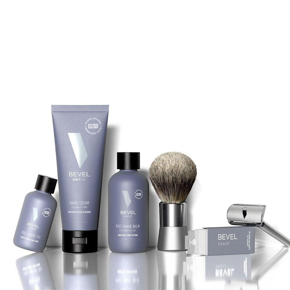 """<p>getbevel.com</p><p><a href=""""https://getbevel.com/shave-kit?featured=true&list=shave"""" rel=""""nofollow noopener"""" target=""""_blank"""" data-ylk=""""slk:BUY IT HREE"""" class=""""link rapid-noclick-resp"""">BUY IT HREE</a></p><p>The Bevel shave system was developed specifically to address the needs of men (particularly men of color) who struggle with ingrown hairs, <a href=""""https://www.menshealth.com/grooming/g25775931/how-to-get-rid-of-razor-bumps-men/"""" rel=""""nofollow noopener"""" target=""""_blank"""" data-ylk=""""slk:razor bumps"""" class=""""link rapid-noclick-resp"""">razor bumps</a>, and other shaving issues. Even if you don't, these top of the line products are ideal for anyone who wants a smoother shave with less irritation. Start with the Shave Kit, which includes a Bevel safety razor, blades, shaving brush, pre-shave oil, shave cream, and post-shave balm (i.e. everything you could possibly need to shave). Choose the auto-ship option to get a monthly delivery of everything except the razor. There are also options to get just the blades or almost any other combination of goods including the brand's newer skin, body, and hair products if you want to go beyond shaving.</p>"""